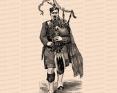Digital Vintage Victorian Piper | Traditional Scottish Dress | Antique Bagpipes Clip Art SVG PNG JPG