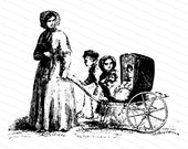 Victorian Mother with Three Children Vector Clipart | Vintage Antique Boy, Girl, Baby in Carriage | Instant Download SVG PNG JPG