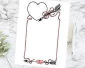Vintage Hearts, Arrows, & Ribbon Border | Antique Edwardian Valentine's Day Frame | Vector Romantic Clip Art SVG PNG JPG Color