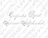Victorian Cupid's Dart Alphabet Vector Clip Art  | Vintage Ornamental Cursive Script Uppercase, Lowercase | Calligraphy Capitals SVG & PNG