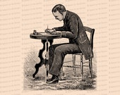 Digital Vintage Seated Victorian Man Writing Letter at Desk | Vector Clipart Instant Download SVG PNG JPG