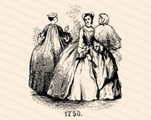 Victorian Depiction of Vintage Georgian Era Ladies Costumes | Antique Women, 18th Century Fashion 1750s | Vector Clipart SVG PNG JPG