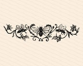 Victorian Bees & Flowers | Antique Vintage 1870s Insect Embellishment | Bugs, Floral Vector Clip Art Instant Download PNG JPG SVG