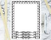 Vintage Art Nouveau Border Element | Antique Rectangular Frame Decorative Element | Vector Spirals Hearts Geometric Download SVG PNG JPG