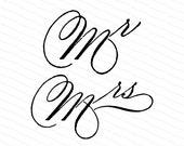 Vintage Victorian Handwritten Mr & Mrs Words Clipart |  Wedding | Fancy Mr and Fancy Mrs Penwork Calligraphy  Vector Clip Art SVG PNG
