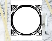 Vintage Art Nouveau Border Element | Antique Square Frame Decorative Element with Round Opening | Vector Geometric Download SVG PNG JPG