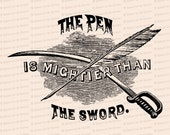 Victorian The Pen is Mightier than the Sword Illustration | Vintage Adage, Saying Vector Clipart Instant Download SVG PNG JPG