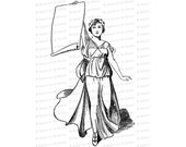 Roaring Twenties Columbia | Woman, Laurel, Blank Banner / Scroll | American Patriotic Lady Liberty Vector Clip Art SVG PNG JPG Digital