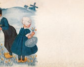 Antique Postcard DOWNLOAD | Dutch Scene with blank space | Edwardian Dutch wooden shoes girl and boy picking tulips flowers windmill png jpg