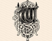 Ornamental Penwork Initial Letter W Vector Clipart  | Vintage Victorian Capital Letter W, Fancy Antique Monogram SVG PNG JPG