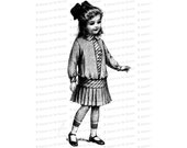 Vintage Little Girl in Dropped-Waist Dress with Pleated Skirt and Hair Bow | Edwardian Child Vector Clipart Instant Download SVG PNG JPG