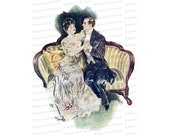 Vintage Embracing Edwardian Couple Color Clipart | Antique Romantic Seated Man and Woman Instant Download PNG JPG