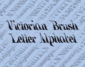 Victorian Brush Letter Marking Alphabet Vector Clipart  | Vintage Ornamental Numbers, Uppercase, Lowercase Lettering | Calligraphy SVG & PNG