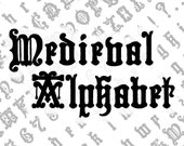 Medieval Alphabet Penwork Vector Clipart  | Vintage Ornamental Victorian Numbers, Uppercase, Lowercase Lettering | Calligraphy SVG & PNG