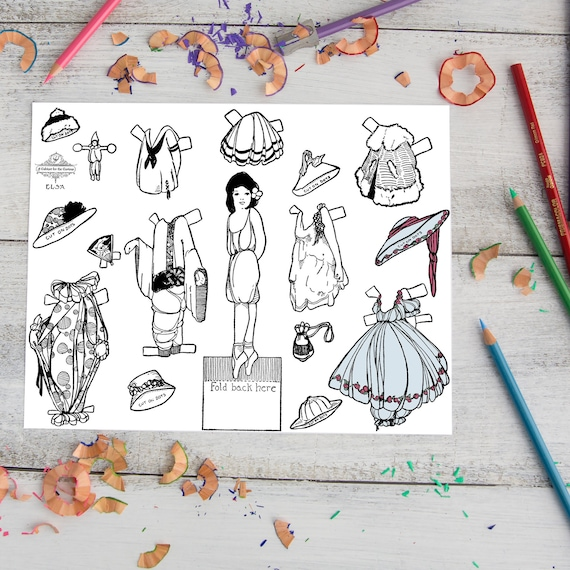 Elsa Coloring Page Printable Paper Doll Vintage 1910s Doll Etsy