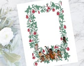Cherub Musicians and Columbine Color Flower Frame | Printable Valentine's Day Border | Vector Romantic, Wedding, Floral SVG PNG JPG