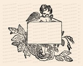 Vintage Cupid with Blank Sign and Roses | Antique Victorian Valentine's Day Clipart | Vector Romantic, Wedding, Flowers SVG PNG JPG