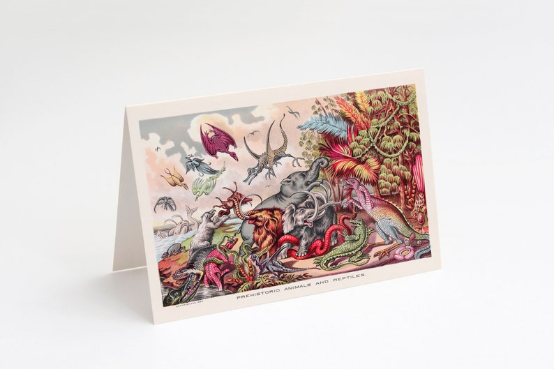 Prehistoric Animals & Reptiles 5x7 A7 Note Card  Blank image 0
