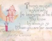Antique Postcard DOWNLOAD | Vintage Edwardian Valentine Lonesome Cupid with Poem, lonely love missing you shabby chic png jpg digital