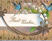 Antique Postcard DOWNLOAD | Best Wishes with Blue Butterflies and Lily of the Valley on Wood Pattern | Edwardian Floral Flowers png jpg