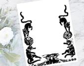 Digital Vintage 1920s Cute Halloween Border with Black Cats, Jackolanterns, Witches Vector Clipart   Jack-o-Lanterns Download SVG PNG JPG