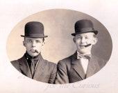 Antique Photo DOWNLOAD | Vintage Men with Cigars Wearing Bowler Hats, smoking tobacco gentlemen edwardian men's fashion instant art png jpg