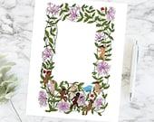 Cherubs Chasing Butterfly Honeysuckle Floral Border | Color Valentine's Day Frame | Vector Romantic, Wedding, Flowers SVG PNG JPG