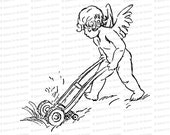 Vintage Edwardian Cupid Cutting Grass  | Valentine's Day Vector Clipart | Mowing Lawn Vintage Mower SVG PNG JPG