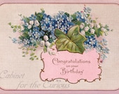 Antique Postcard DOWNLOAD | Vintage Edwardian Pink Congratulations on Your Birthday with Blue and White Flowers png jpg digital download