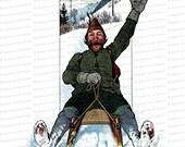 Vintage Edwardian Sledding Man    1900s Bearded Man on Sled Color Winter Clipart Instant Download PNG JPG