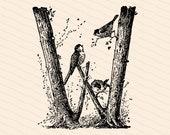 Ornamental Penwork Initial Letter W Vector Clipart    Victorian Nature Capital Letter W, Rustic Woodland Birds Antique Monogram SVG PNG JPG