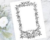 Vintage Floral Clematis Border with Artist Cherubs | Antique Valentine's Arts Frame | Vector  Flowers, Palette, Brush, Pencil  SVG PNG JPG