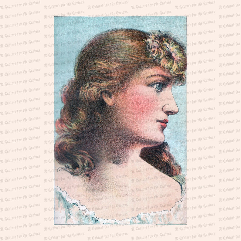 Vintage Pretty Edwardian Lady with Blue Eyes Color Clipart Antique Woman Instant Download PNG JPG