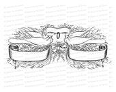 Digital Vintage Wedding Blank Banner Vector Clip Art | Victorian Penwork Flourishing Birds, Ring, Flowers, Bow | SVG PNG JPG