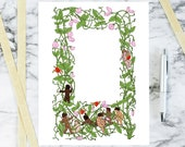Vintage Floral Sweetpea Color Border with Cupids and Hearts | Printable Valentine's Day Frame | Vector Romantic, Wedding, Floral SVG PNG JPG