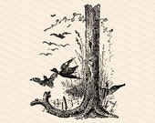 Ornamental Penwork Initial Letter J Vector Clipart    Victorian Nature Capital Letter J, Rustic Woodland Birds Antique Monogram SVG PNG JPG