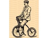 Digital Vintage Victorian Gentleman on Bicycle    Antique Man on Bike Illustration Instant Download   Cycling Vector Clipart SVG PNG JPG