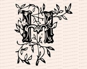 Ornamental Penwork Initial Letter H Vector Clipart    Vintage Victorian Capital Letter H, Fancy Antique Monogram SVG PNG JPG
