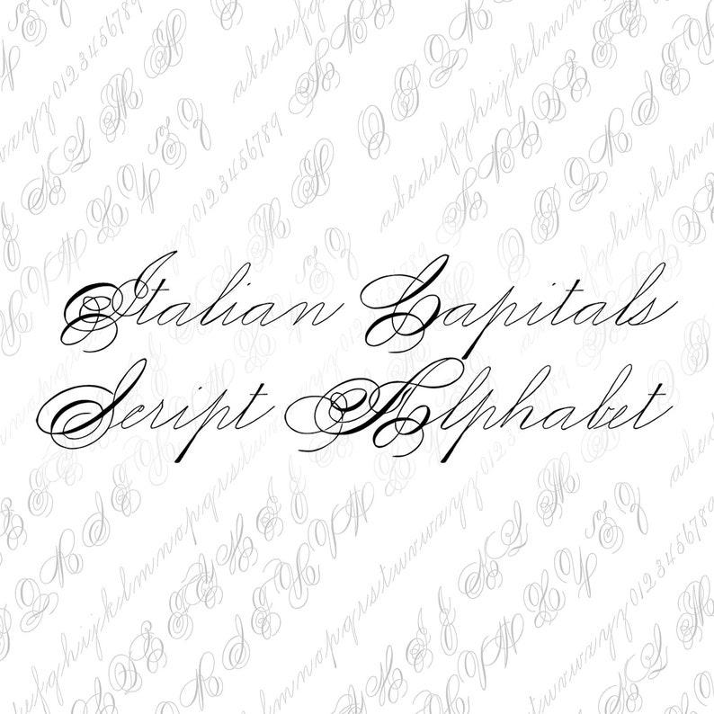 Fancy Italian Alphabet Vector Clipart Letters Vintage Victorian Ornamental Cursive Script Uppercase Calligraphy SVG PNG Lowercase