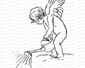 Vintage Edwardian Gardening Cupid with Watering Can  | Valentine's Day Vector Clipart | Romantic Gardener SVG PNG JPG