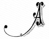 Ornamental Penwork Initial Letter A Vector Clipart    Vintage Victorian Capital Letter A, Antique Monogram SVG PNG JPG