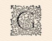 Ornamental Penwork Filigree Initial Letter G Vector Clipart    Vintage Victorian Capital Letter G, Fancy Antique Monogram SVG PNG JPG
