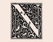 Ornamental Penwork Initial Letter N Vector Clipart    Vintage Art Nouveau Era Capital Letter N, Fancy Antique Monogram SVG PNG JPG