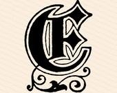 Ornamental Penwork Initial Letter E Vector Clipart    Vintage Victorian Capital Letter E, Fancy Antique Monogram SVG PNG JPG