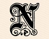 Ornamental Penwork Initial Letter N Vector Clipart    Vintage Victorian Capital Letter N, Antique Monogram SVG PNG JPG