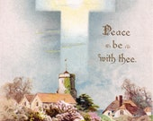 Antique Postcard DOWNLOAD | Peace be With Thee | religious Christian cross lake village church png jpg digital instant download