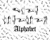 Vector Clipart Victorian Sign Language Alphabet   Deaf Manual Alphabet   Vintage Fingerspelling Clipart Set SVG PNG