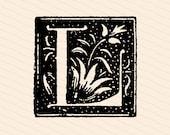 Ornamental Penwork Initial Letter L Vector Clipart    Vintage Victorian Capital Letter L    Floral Antique Monogram SVG PNG JPG