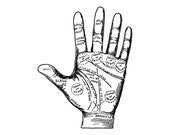 Antique Digital Palmistry Hand Vector Clipart   Vintage Chiromancy Palm-Reading Fortune-Telling Occult Mystic Instant Download SVG PNG JPG