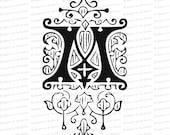 Ornamental Penwork Initial Letter M Vector Clipart    Vintage Victorian Capital Letter M, Fancy Antique Monogram SVG PNG JPG